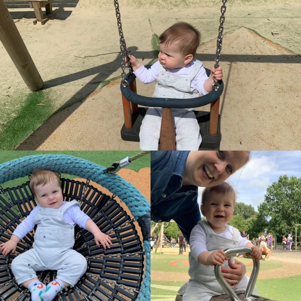 Photos of a baby enjoying the park